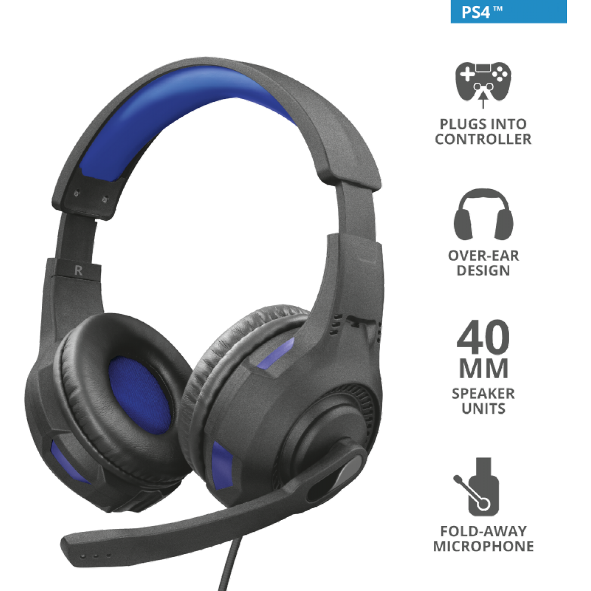 Headset Gamer Trust Ravu, PlayStation 4, Preto e Azul, GXT307B