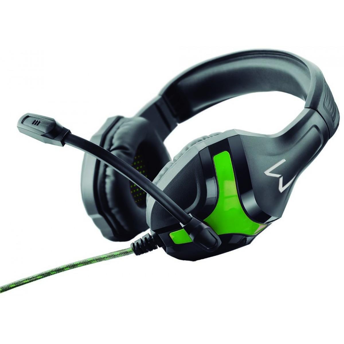 Headset Gamer Warrior Harve Stereo, Preto/Verde, PH298