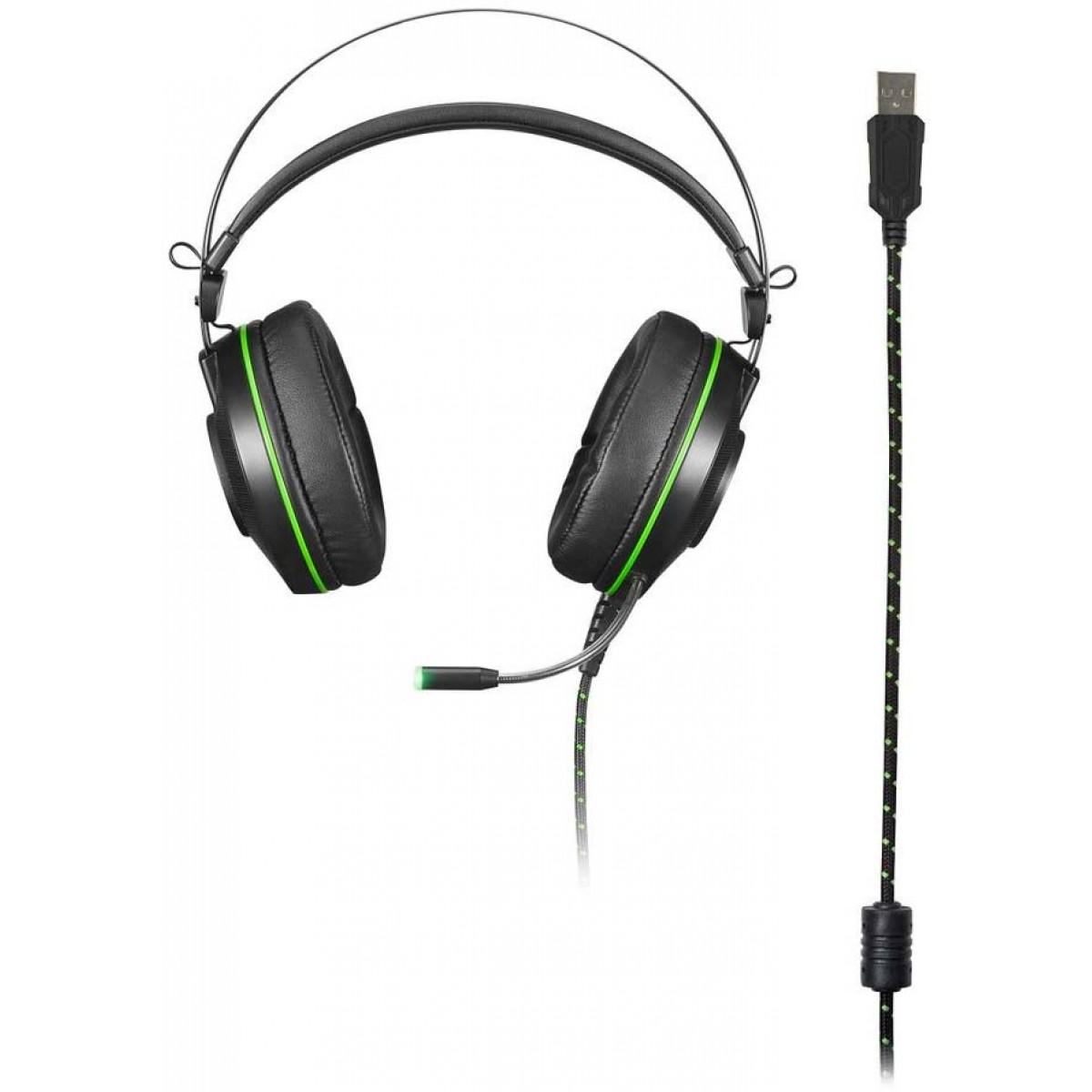 Headset Gamer Warrior Raiko USB 7.1 3D Digital Surround, Preto, PH259