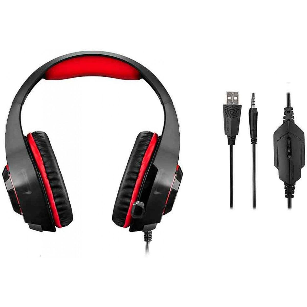 Headset Gamer Warrior Rama Stero, Preto/Vermelho, PH219