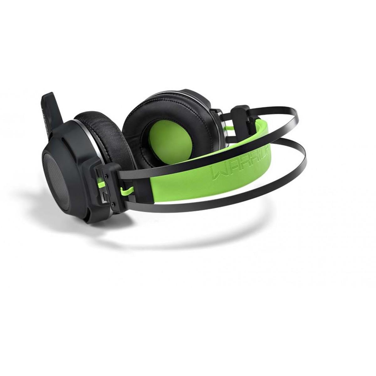 Headset Gamer Warrior Swan, Stereo, USB, Preto/Verde, PH225