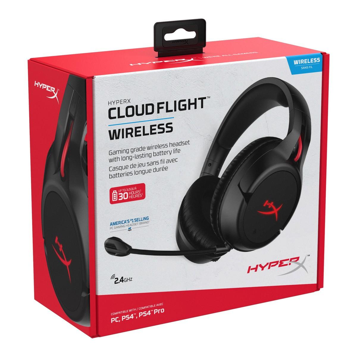 Headset Gamer Wireless HyperX Cloud Flight, USB, PC/PS4, Black, HX-HSCF-BK/AM