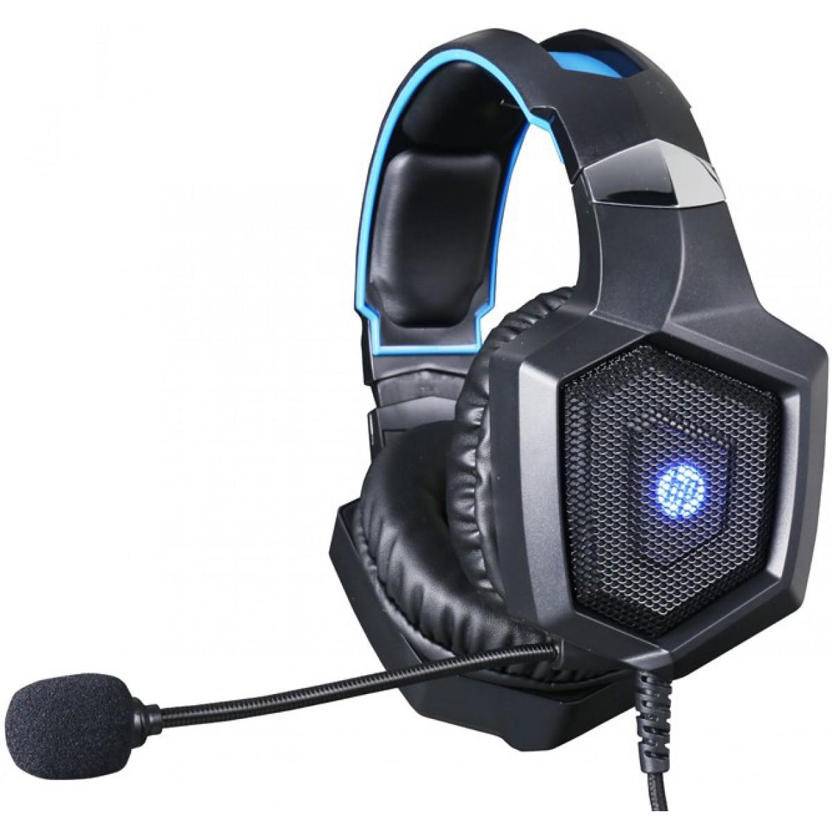 Headset Gamer HP H320, Stereo, P2+USB, Led Blue