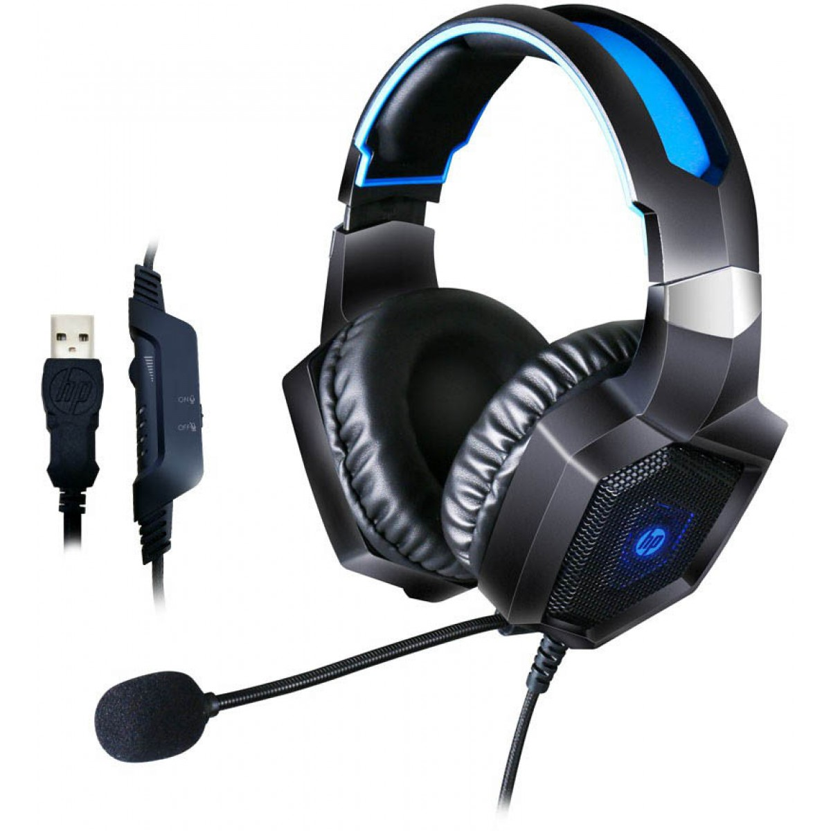 Headset Gamer HP H320GS, Surround 7.1, Led Blue