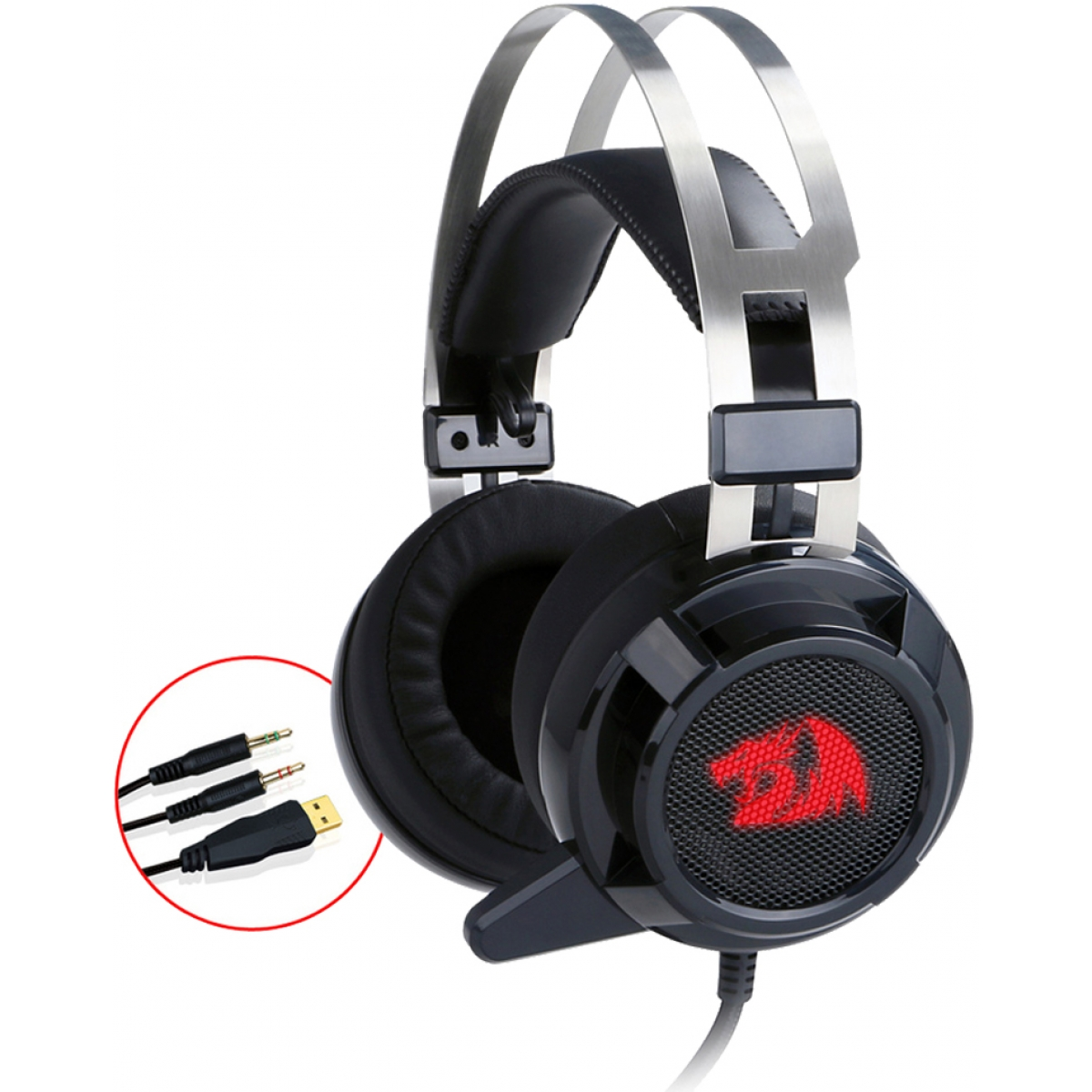 Headset Redragon Siren H301, USB + P2, Led, Black
