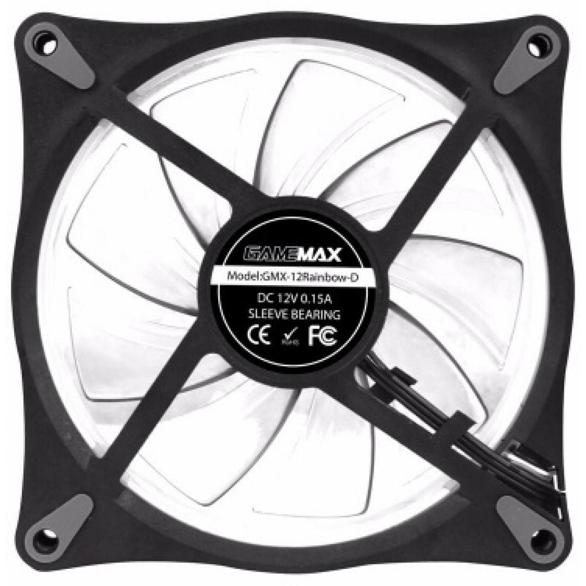 Kit com 3 Fans 120mm Gamemax Rainbow Com Controle RL300