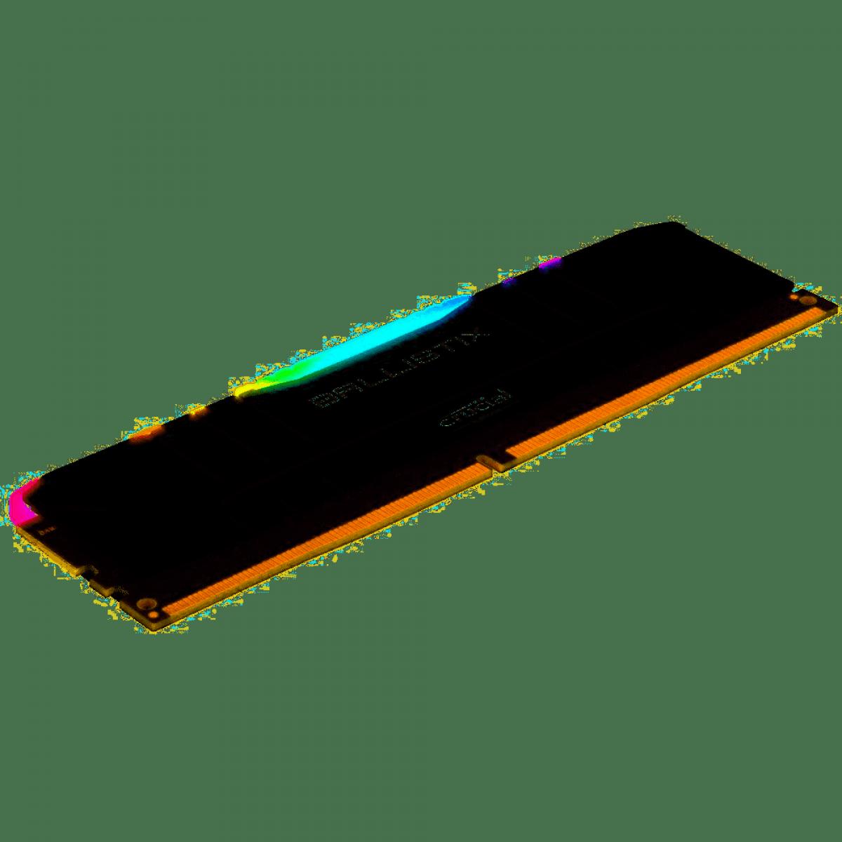 Kit Dual Channel 16GB (2x8GB) Memória DDR4 Crucial Ballistix, 8GB, 3200MHz, RGB, Black