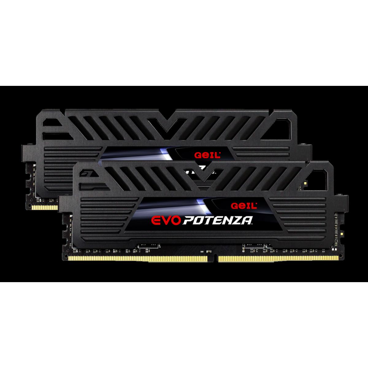 Kit Dual Channel 16GB (2x8GB) Memória DDR4 Geil Evo Potenza 3000MHz, Black