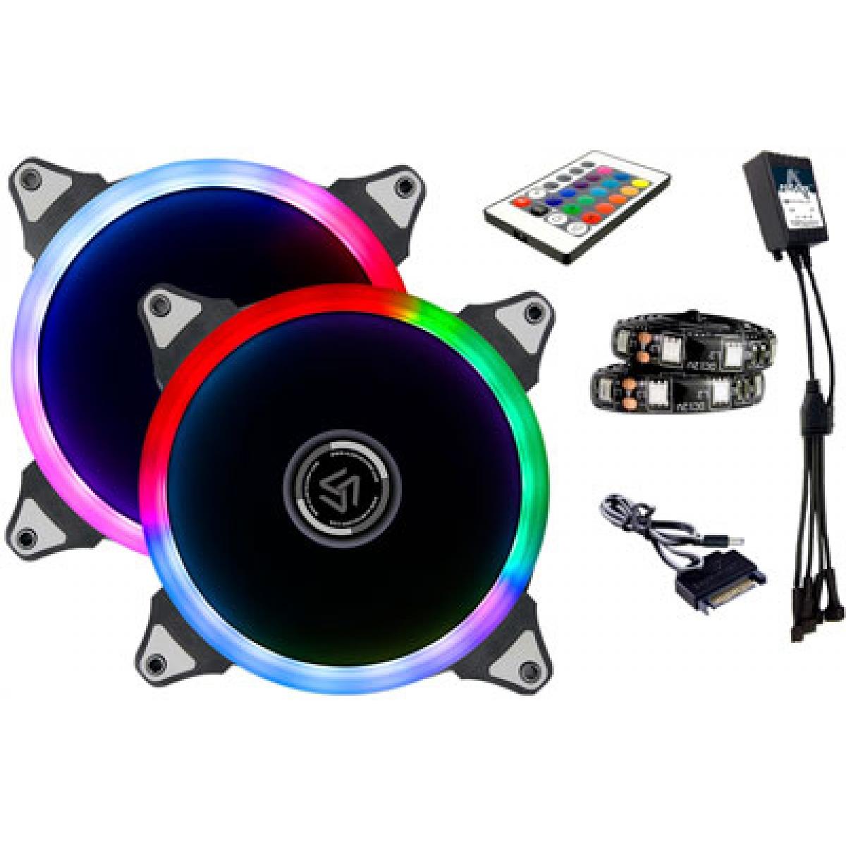 Kit Fan com 2 Unidades Alseye Aurora Rainbow RGB, 120mm, Fita LED, com Controlador, CRLS-200A