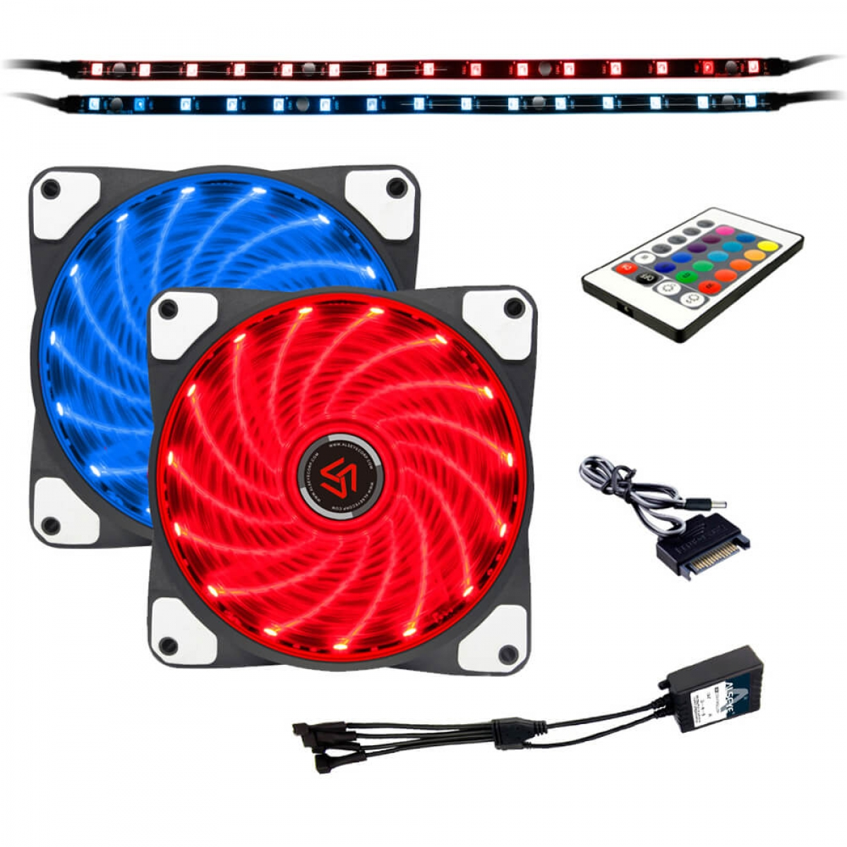Kit Fan com 2 Unidades Alseye Case Light, RGB 120mm, Fita LED, com Controlador, CLS-200