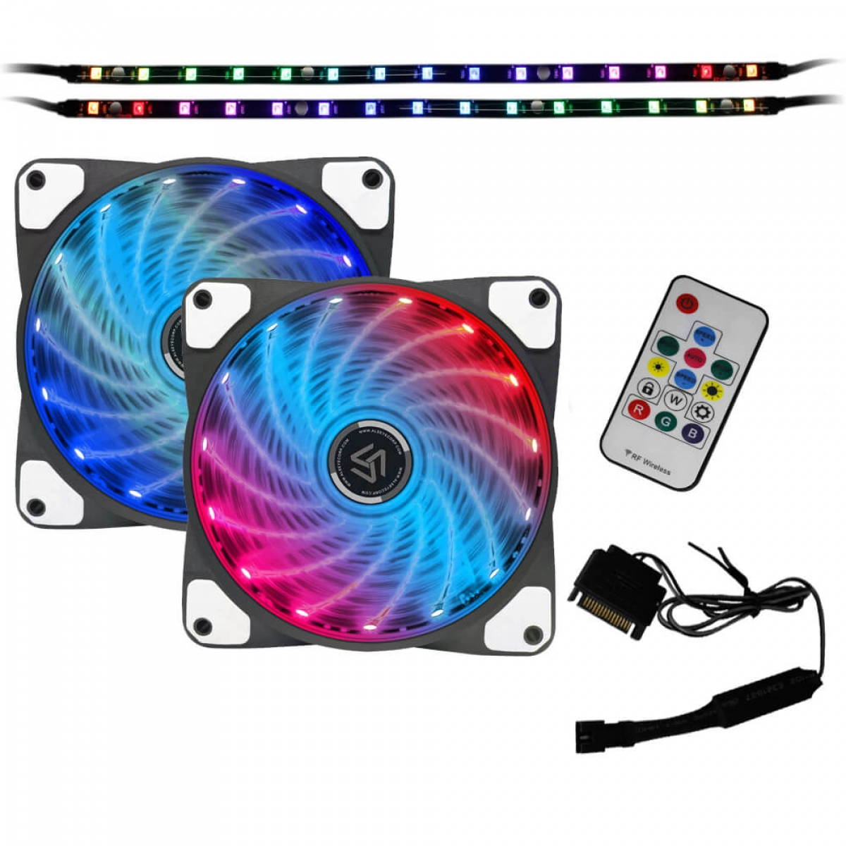 Kit Fan com 2 Unidades Alseye Sooncool Rainbow RGB, 120mm, Fita LED, com Controlador, CRLS-200