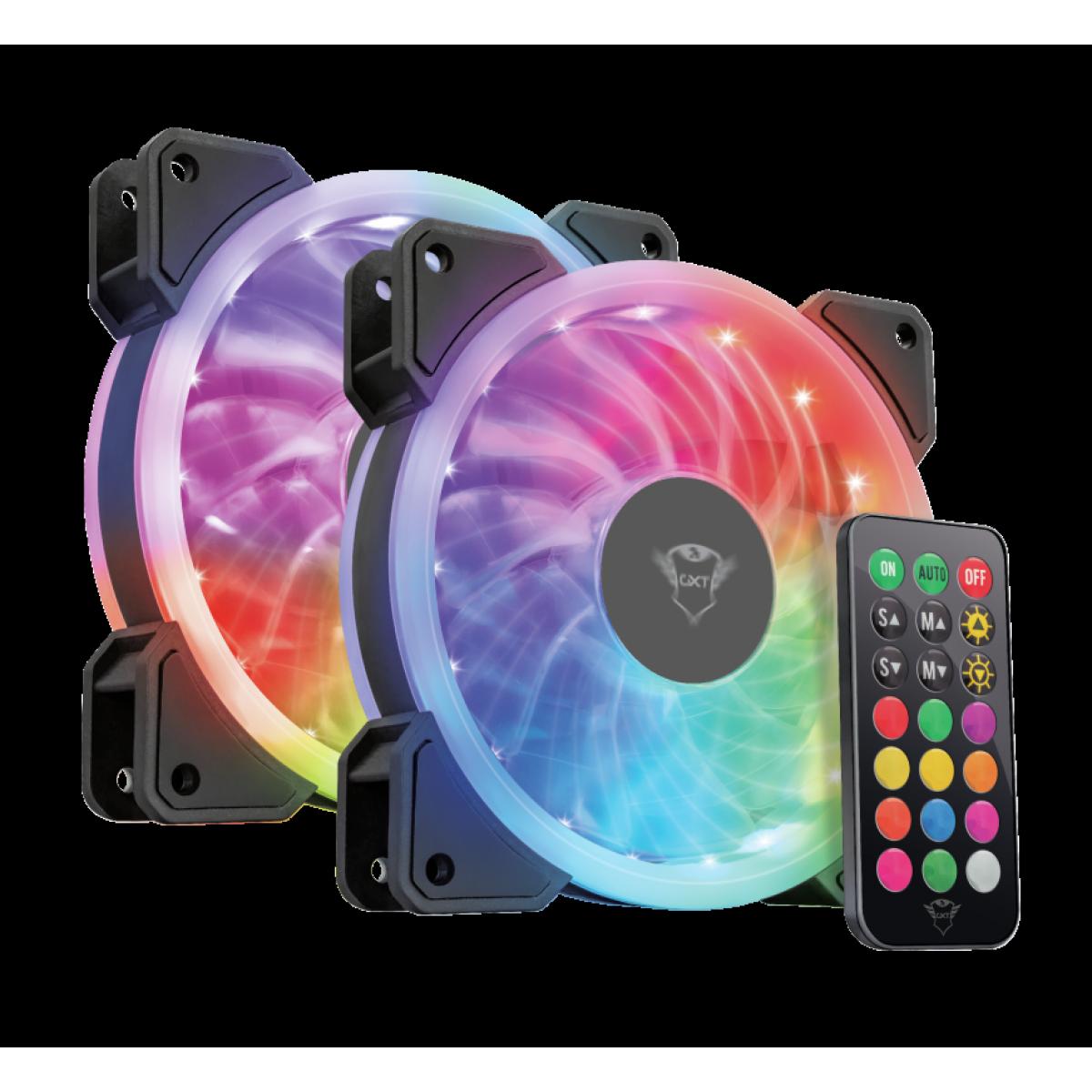 Kit Fan com 2 Unidades, Trust, GXT 770, RGB Illuminated, para Computador
