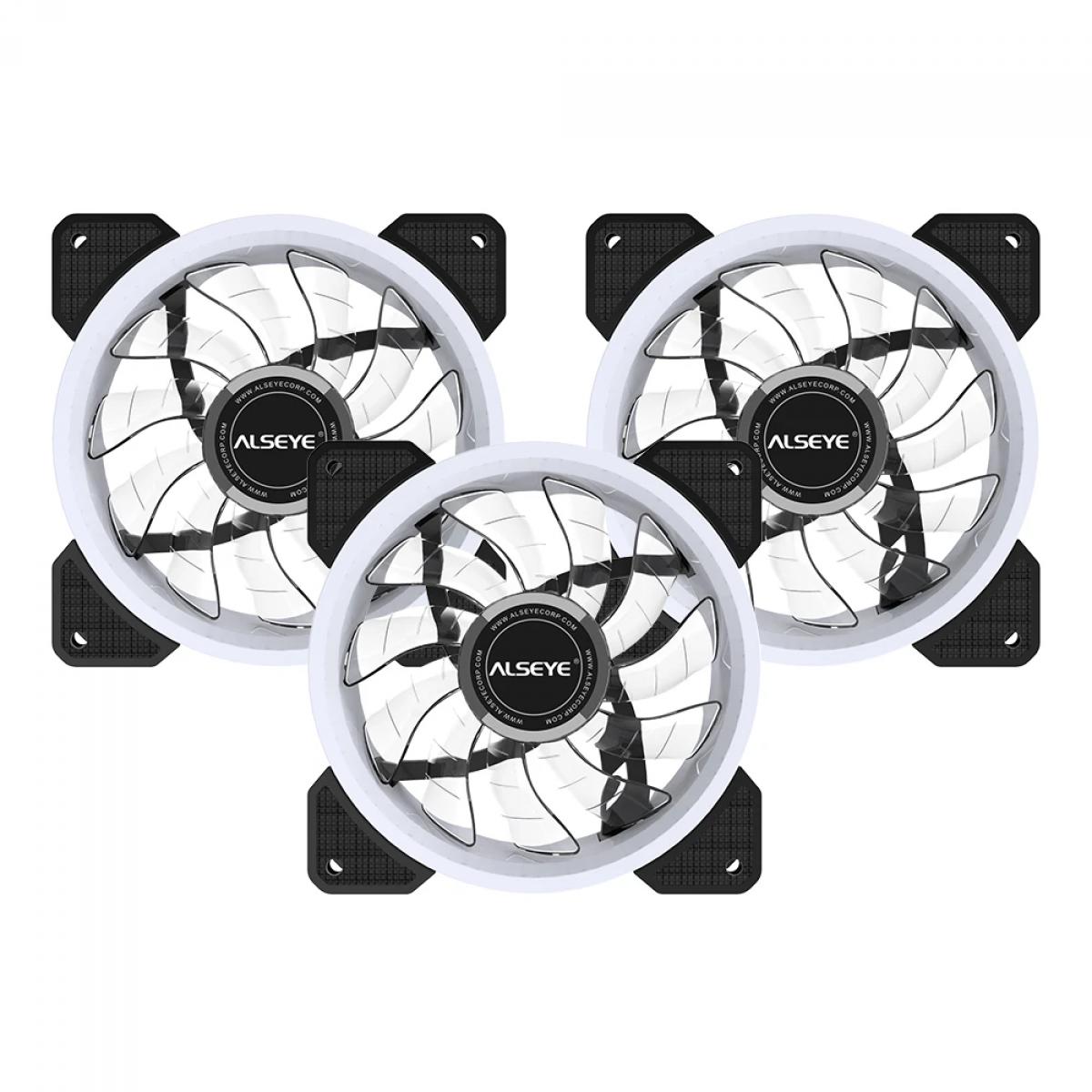 Kit Fan com 3 Unidades Alseye D-Ringer, RGB, 120mm