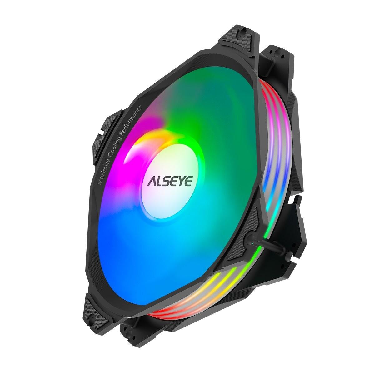 Kit Fan com 3 Unidades Alseye M120-P Black, RGB, 120mm, Com Controlador, M120-P Black