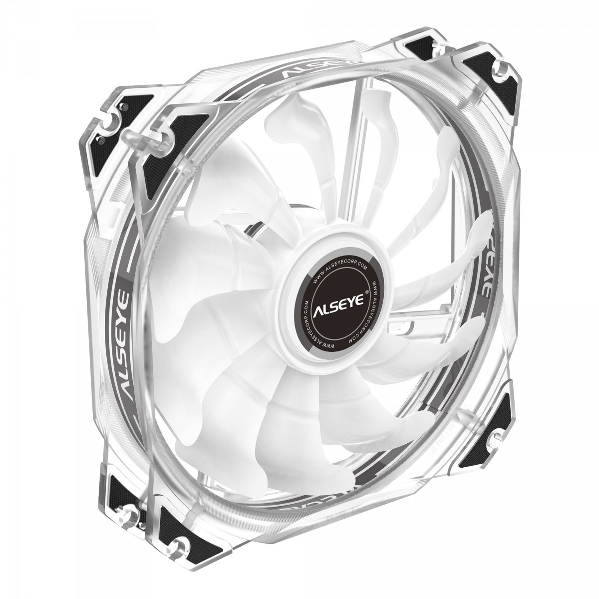 Kit Fan com 3 Unidades Alseye M120-P White, RGB, 120mm