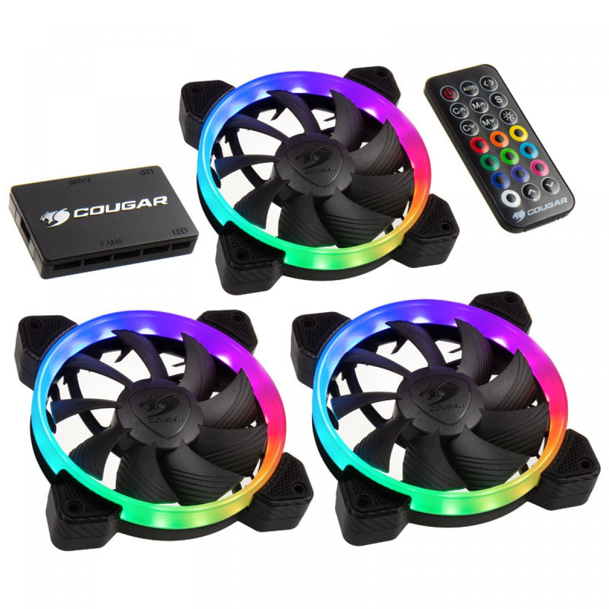 Kit Fan com 3 Unidades Cougar Vortex, RGB, HPB, 120mm, 3MHPBKIT.0001