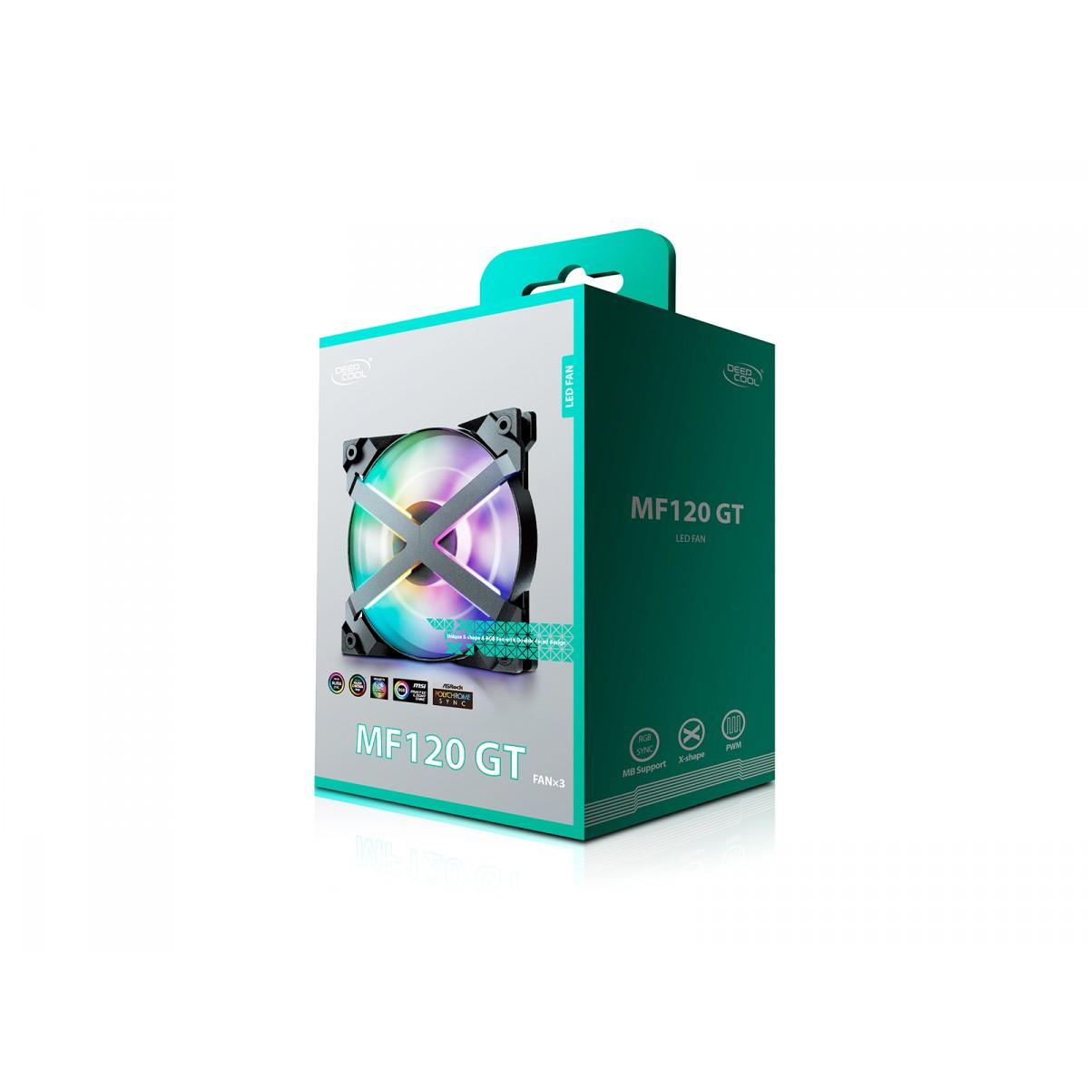 Kit Fan com 3 Unidades DeepCool, ADD-RGB 120mm, MF120 GT First Class, DP-GS-F12-AR-MF120GT-3P
