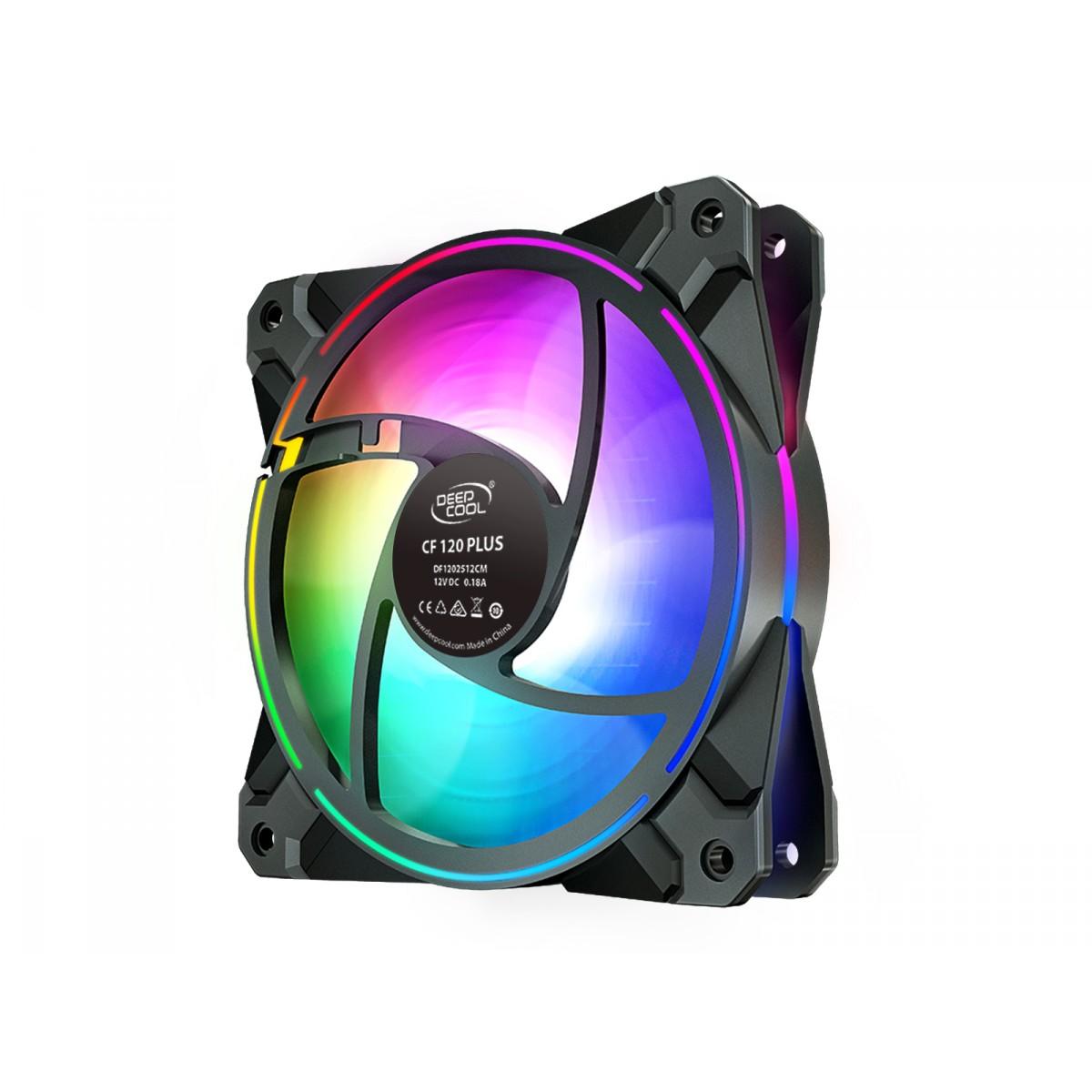 Kit Fan com 3 Unidades DeepCool Dual Ring, RGB 120mm, CF120 PLUS, DP-F12-AR-CF120P-3P