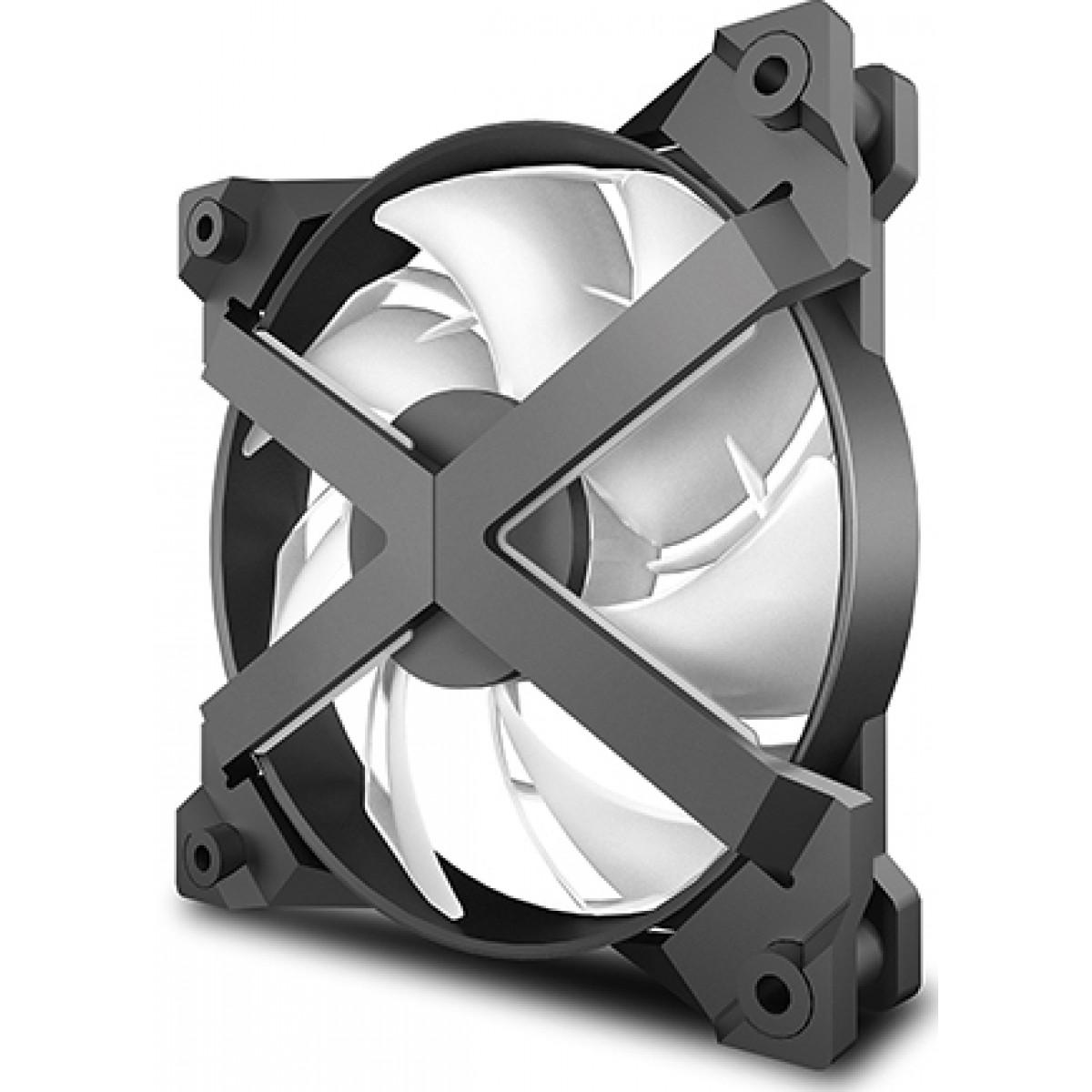 Kit Fan com 3 Unidades Deepcool, MF120 GT, RGB, Controladora, 120mm, Hidráulico, 1800RPM, DP-GS-F12-AR-MF120GT-3P