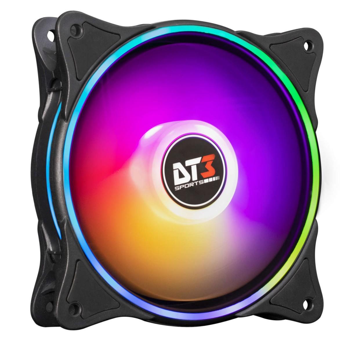 Kit Fan com 3 Unidades DT3Sports ZX120 Trio, LED RGB 120mm, com Controlador