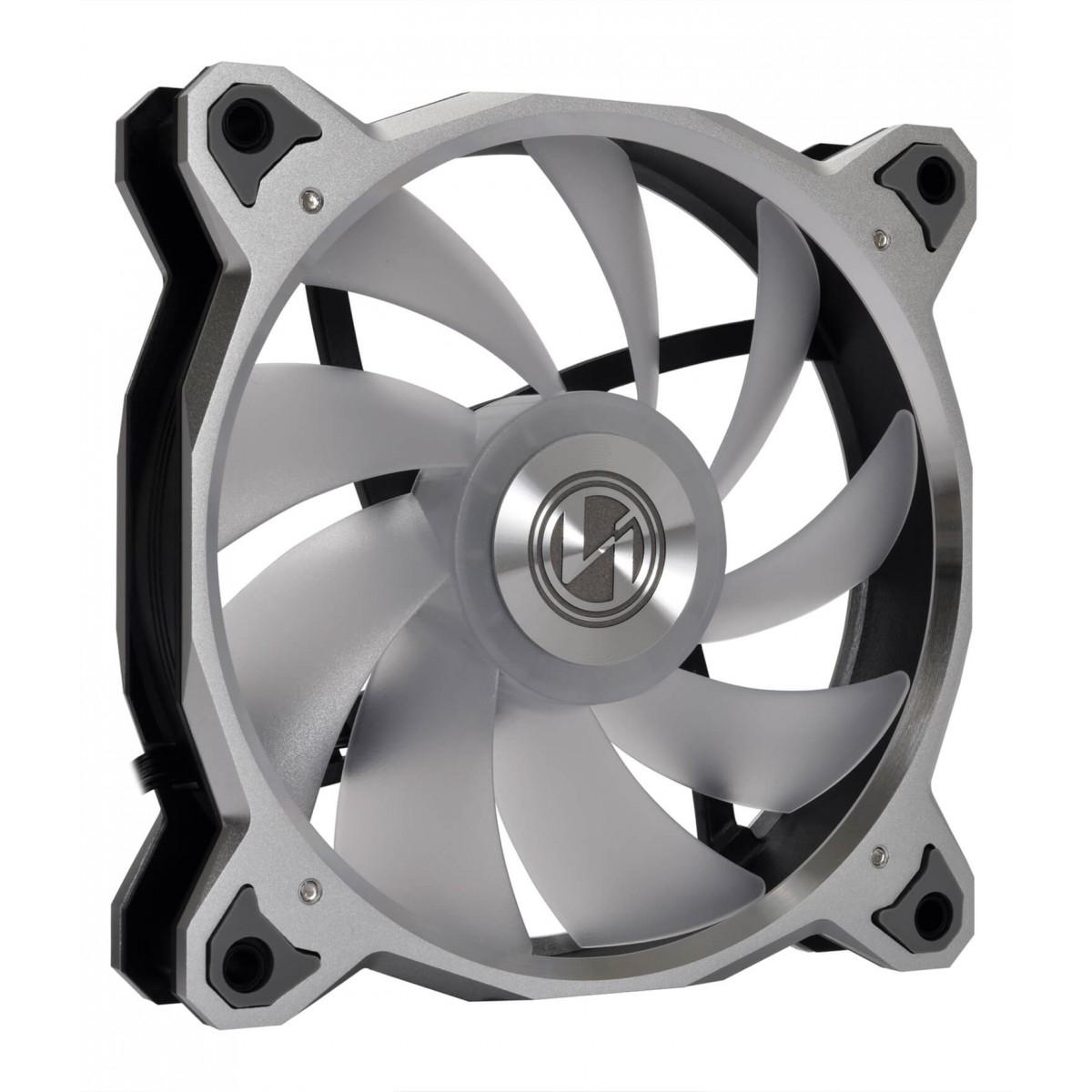Kit Fan com 3 Unidades Lian Li Bora Digital Silver, RGB 120mm, BR DIGITAL-3R S