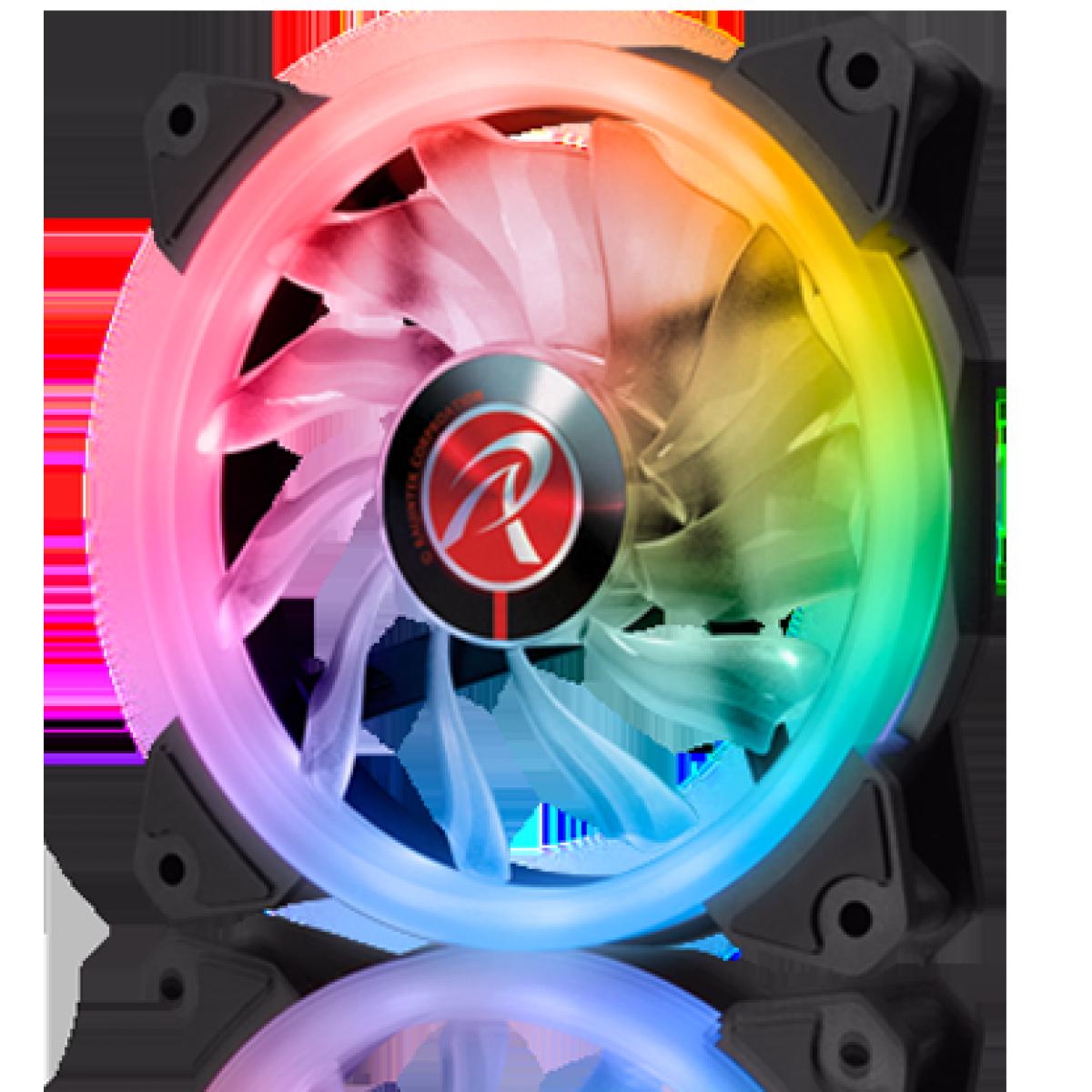 Kit Fan com 3 Unidades Raijintek Iris 12 RBW ADD-3, ARGB, 120mm, 0R40B00112