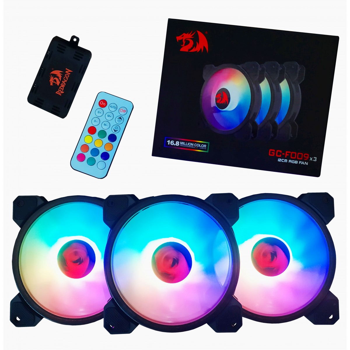 Kit fan com 3 unidades Redragon, RGB, 120mm, Com Controladora, GC-F009