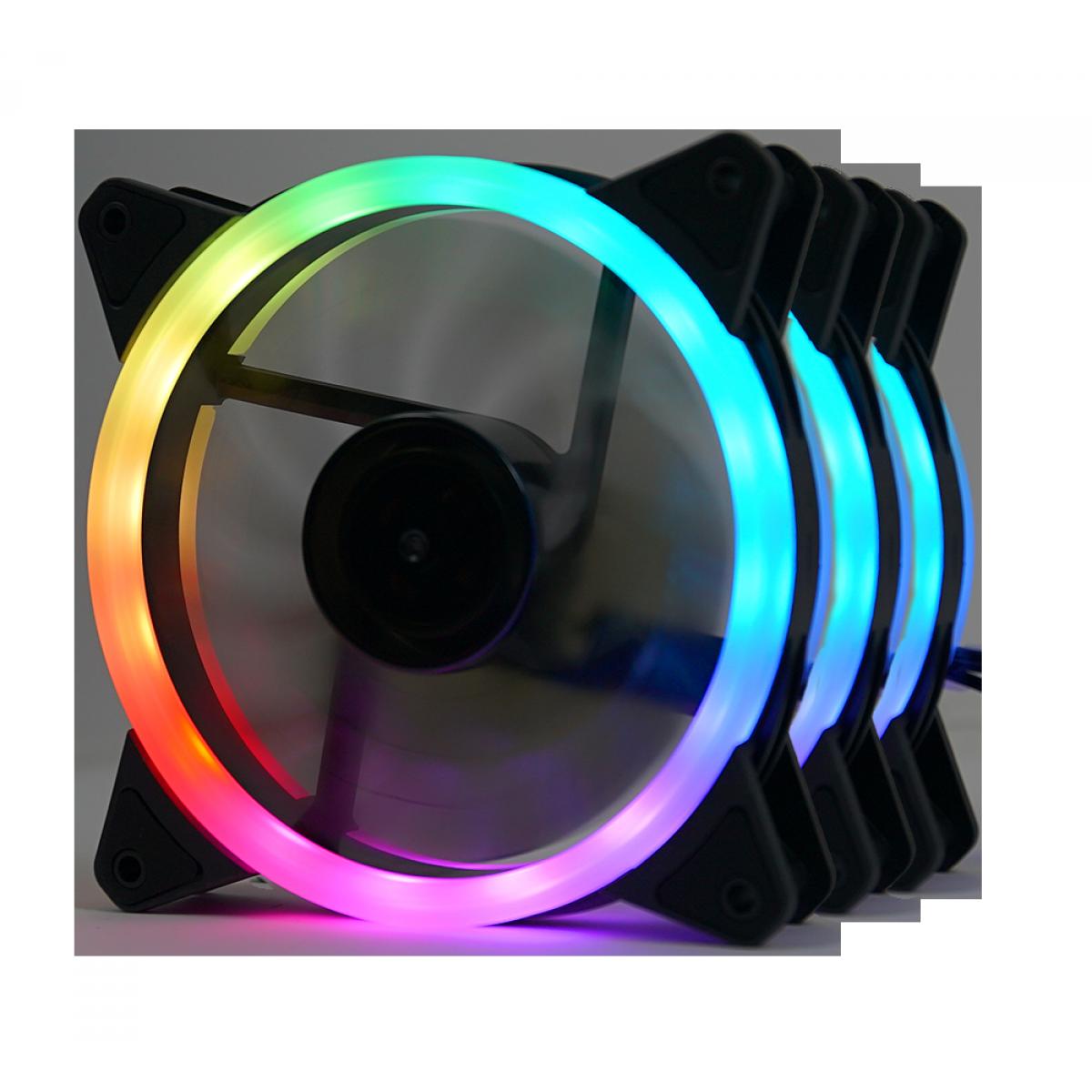 Kit Fan com 3 Unidades Redragon GC-F011, RGB, 120mm, Com Controladora, GC-F011