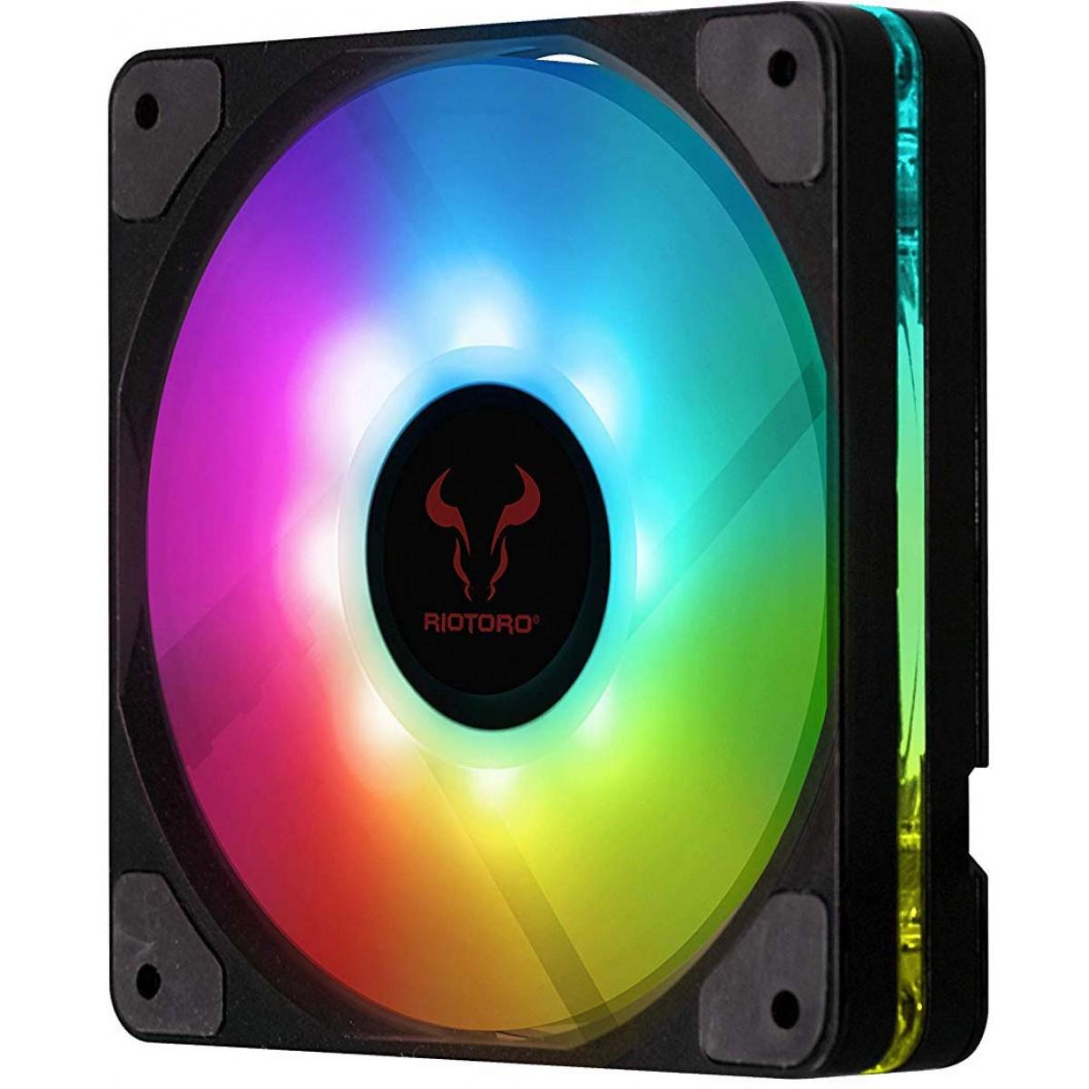 Kit Fan com 3 Unidades Riotoro Quiet Storm, LED RGB 120mm, FRGB120-QS168X