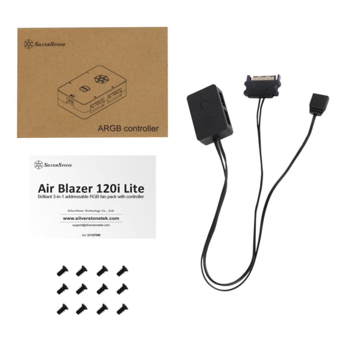Kit Fan com 3 Unidades SilverStone Air Blazer 120i Lite, ARGB, 120mm, Com Controladora, SST-AB120i-ARGB-3PK