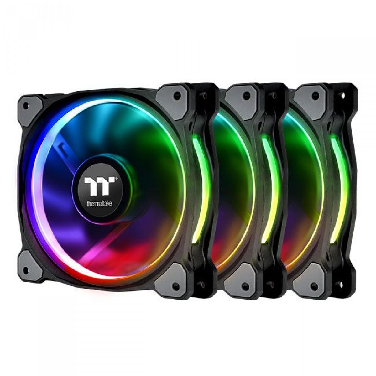 Kit Fan com 3 Unidades Thermaltake Riing Plus 14 RGB Radiator TT Premium Edition, 140mm, Black, CL-F056-PL14SW-A