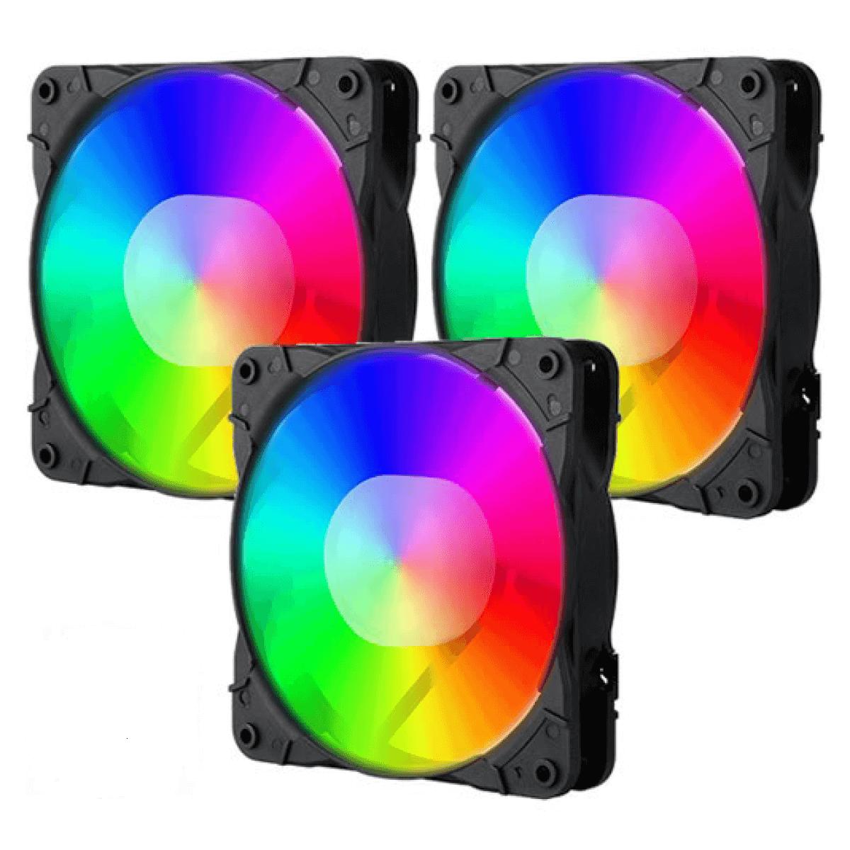 Kit Fan com 3 Unidades Redragon, RGB 120mm, Com Controladora, GC-F007