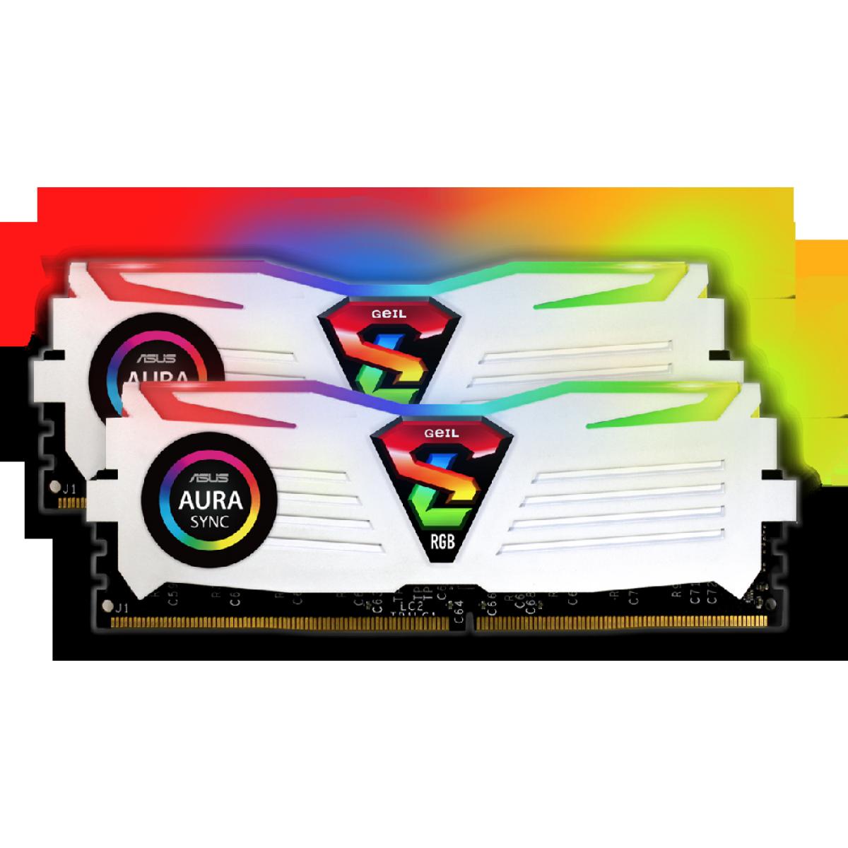 Kit Memória DDR4 Geil Super Luce RGB, 16GB (2X8GB) 3000MHz, White, GALWS48GB3000C16ASC