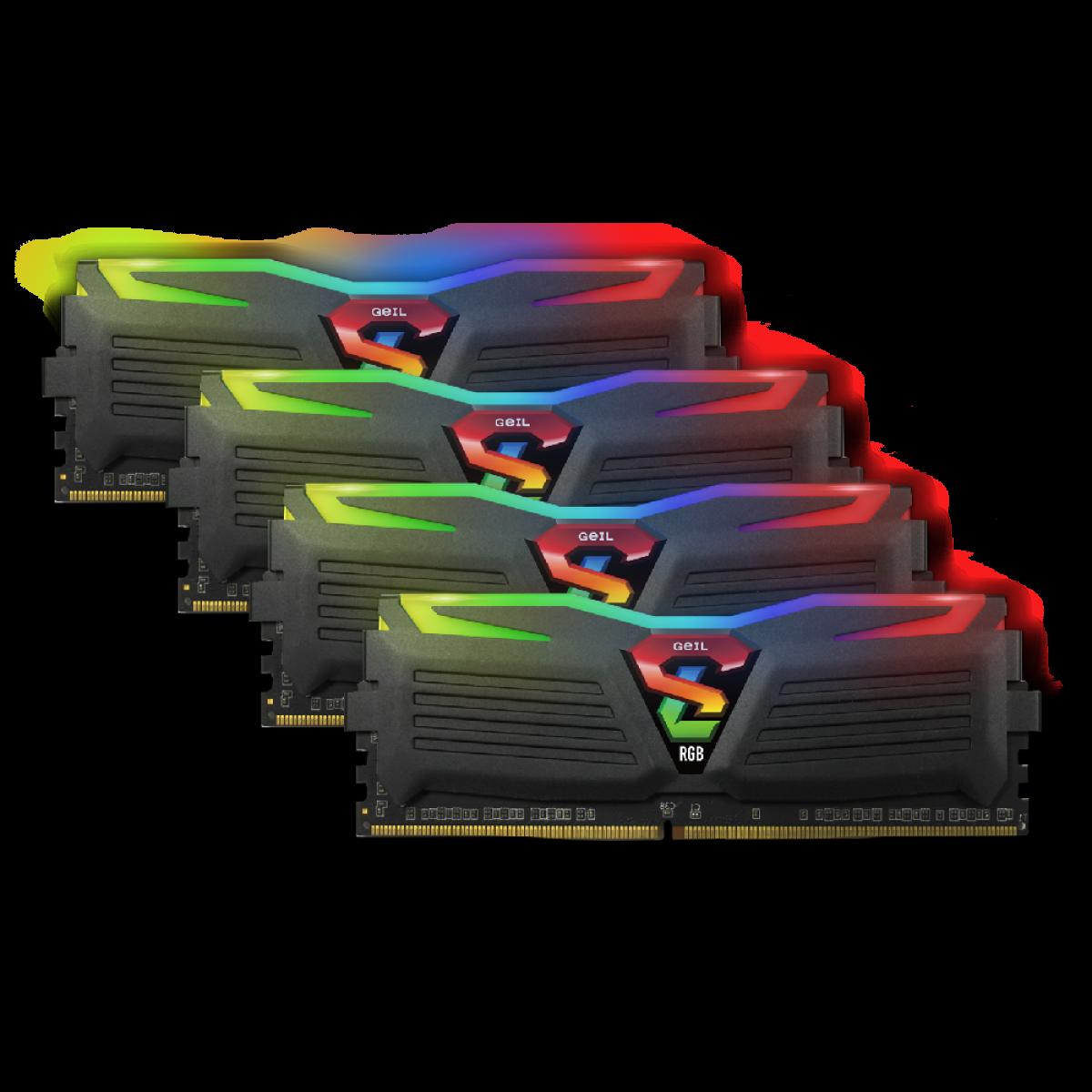 Kit Memória DDR4 Geil Super Luce RGB, 32GB (4X8GB) 3000MHz, Black, GALS48GB3000C16ASC