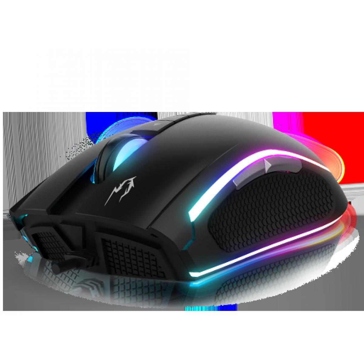 Kit MousePad NYX E1 + Mouse Gamer Gamdias Zeus M2 RGB, 10,800 DPI, 8 Botões Programáveis, Black