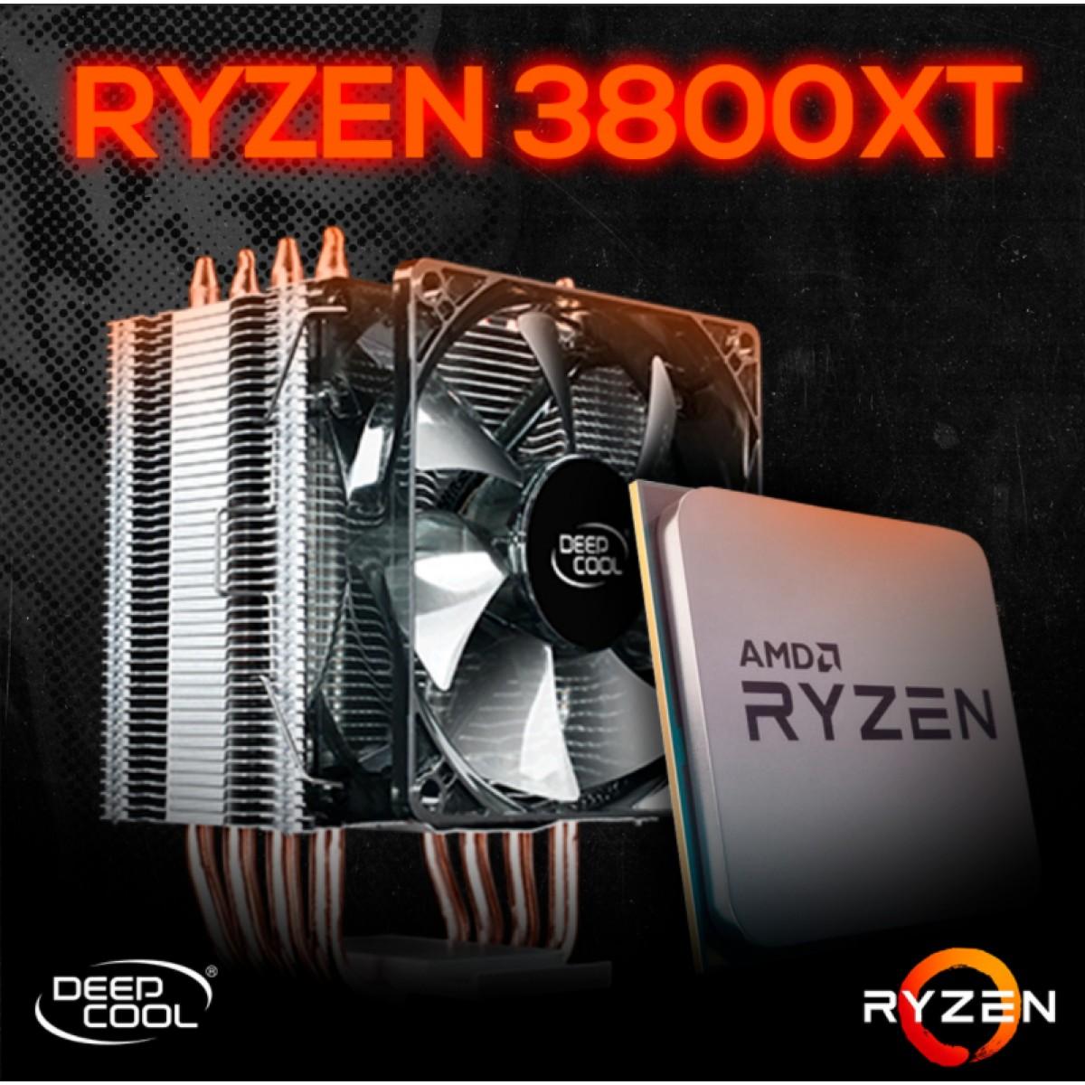 Kit Processador AMD Ryzen 7 3800XT 3.9ghz (4.7GHz Turbo), 8-cores 16-threads, + Cooler Master Hyper H412R