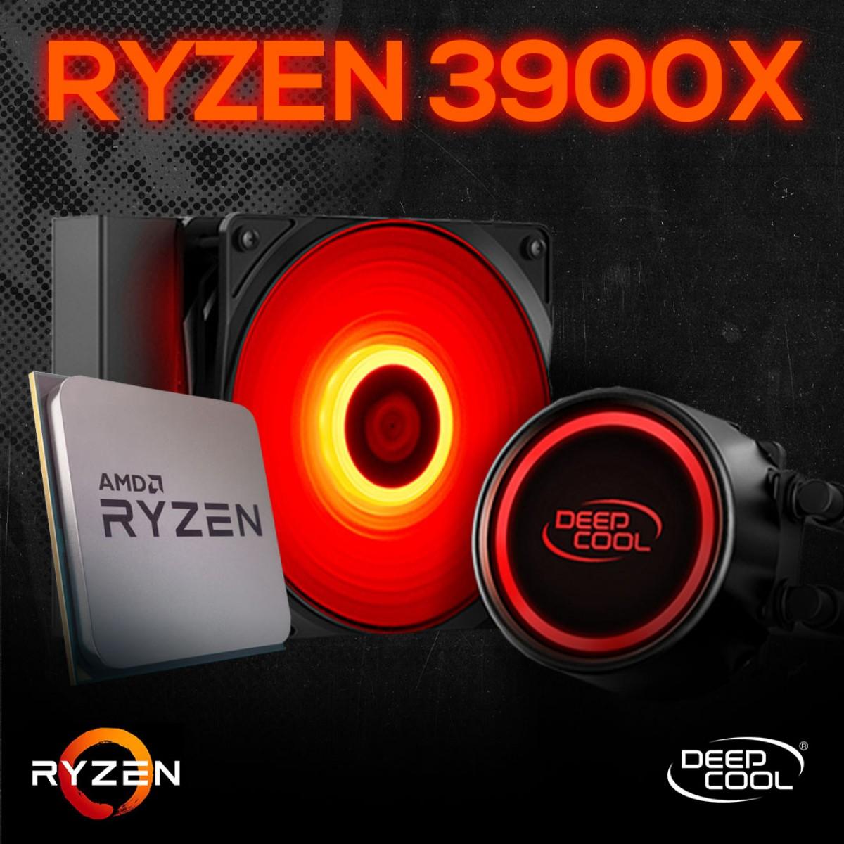 Kit Processador AMD Ryzen 9 3900x 3.8ghz (4.6ghz Turbo), 12-cores 24-threads, + Water Cooler DeepCool Gammaxx L120T
