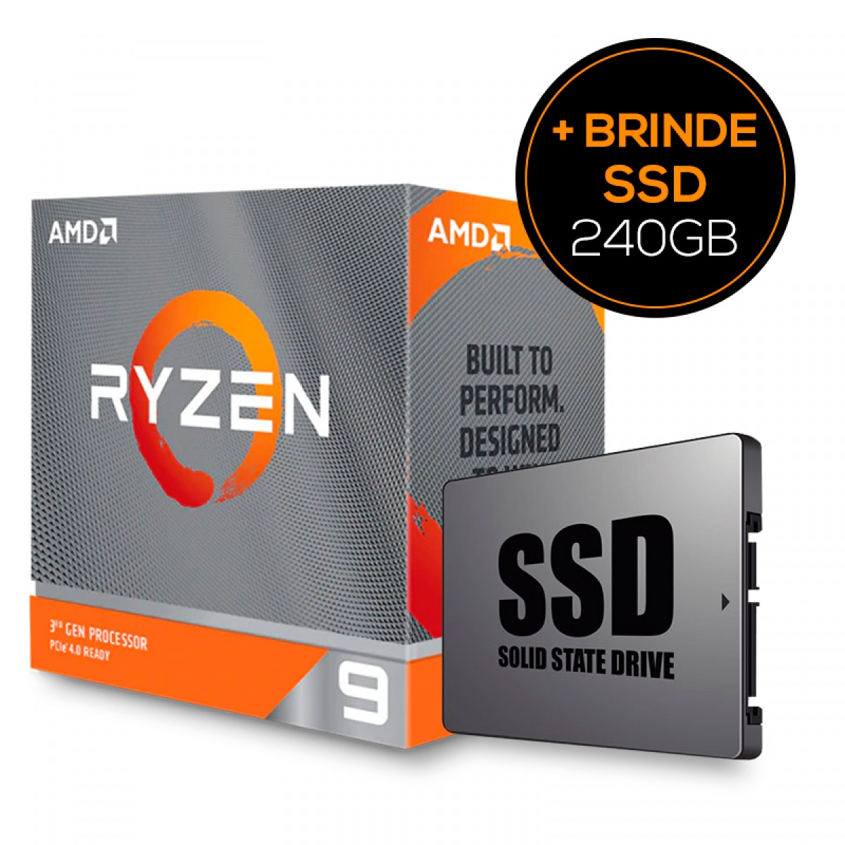 Processador AMD Ryzen 9 3900XT 3.8ghz + Grátis SSD 240GB