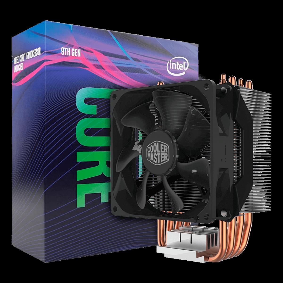 Kit Processador Intel Core i5 9600KF 3.70GHz (4.60GHz Turbo), 9ª Geração, 6-Cores 6-Threads, LGA 1151, BX80684I59600KF, S/VÍDEO + Cooler Master Hyper H412R