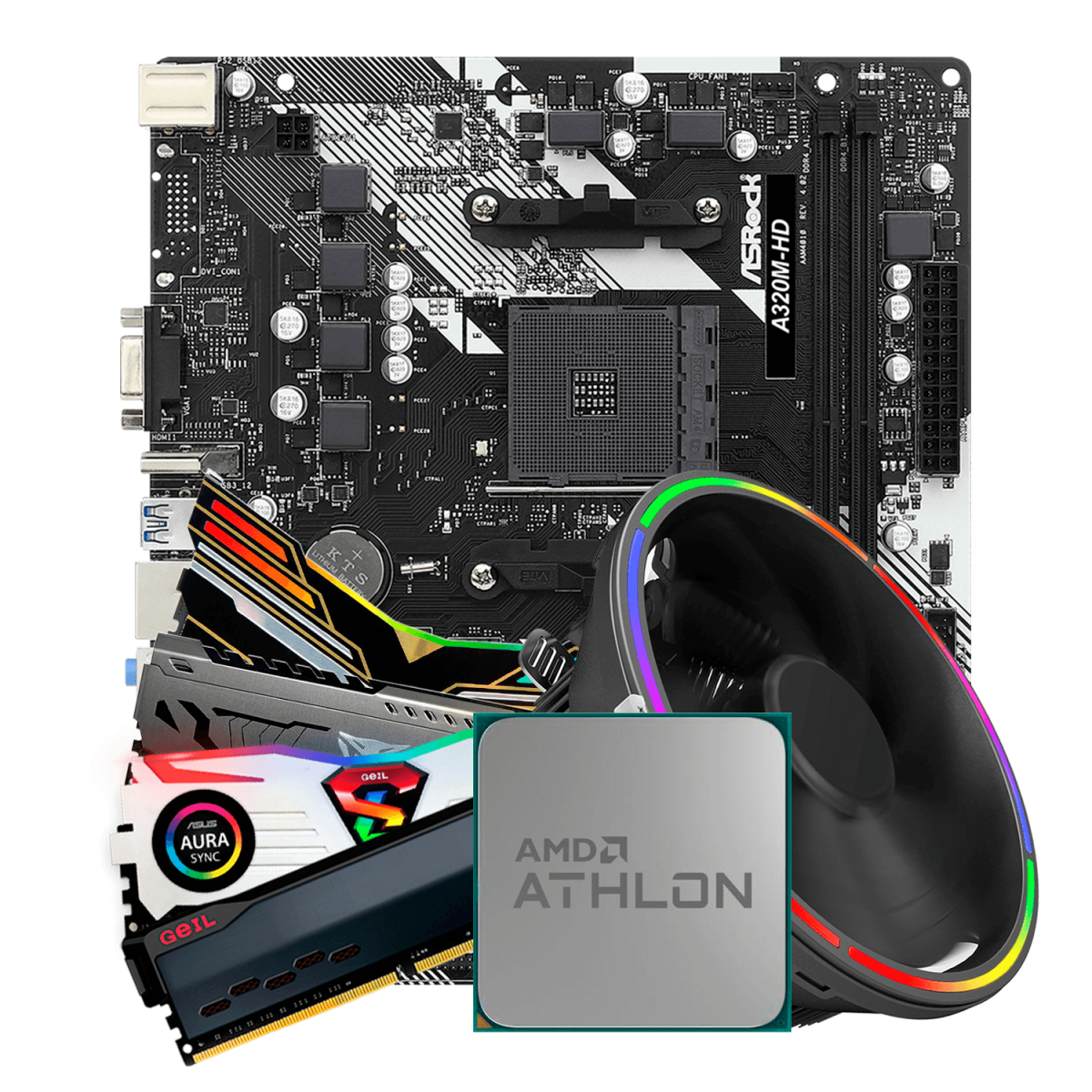 Kit Upgrade, AMD Athlon 200GE, ASRock A320M-HD R4.0, Memória DDR4 16GB (2x8GB) 3000MHz