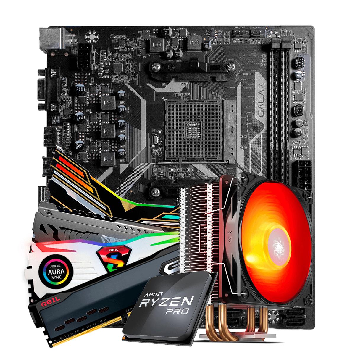 Kit Upgrade, AMD Ryzen 3 PRO 3200GE 3.8GHz Turbo + Cooler, + Galax A320M, + Memória DDR4 8GB 3000MHz