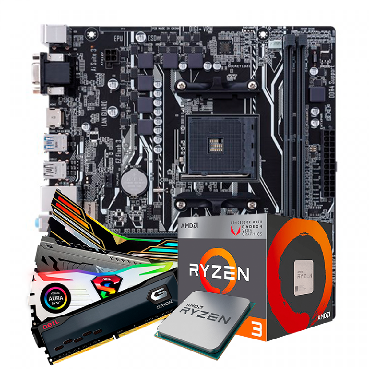 Kit Upgrade, AMD Ryzen 3 2200G, ASUS Prime A320M-K, Memória DDR4 16GB (2x8GB) 3000MHz