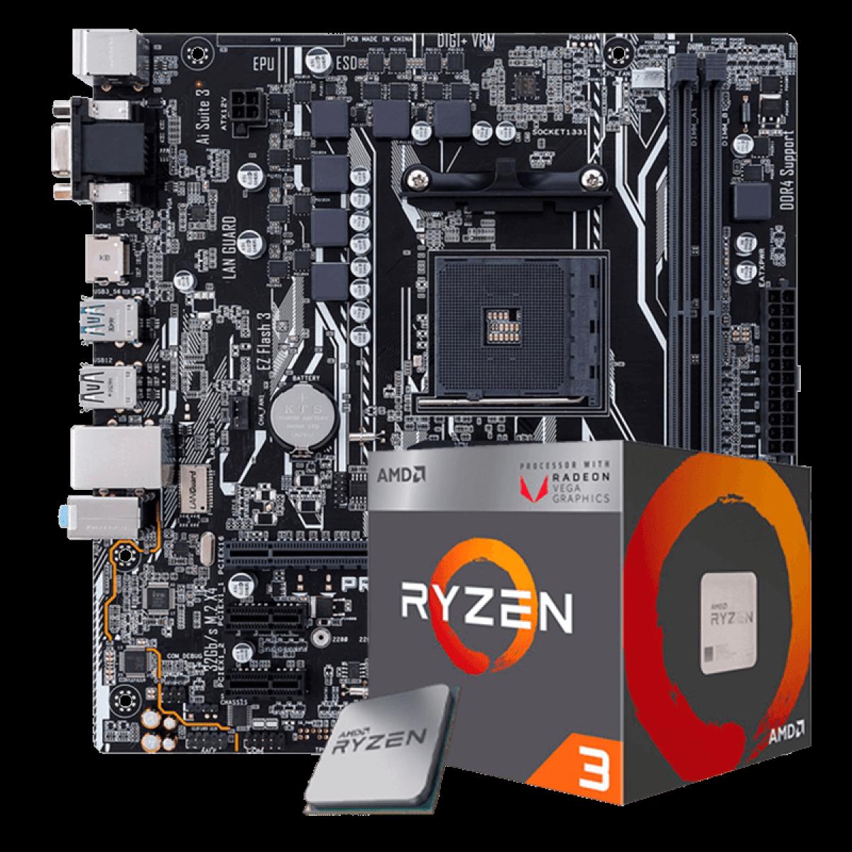 Kit Upgrade Placa Mãe Asus Prime A320M-K, AMD AM4 + Processador AMD Ryzen 3 2200G 3.5GHz