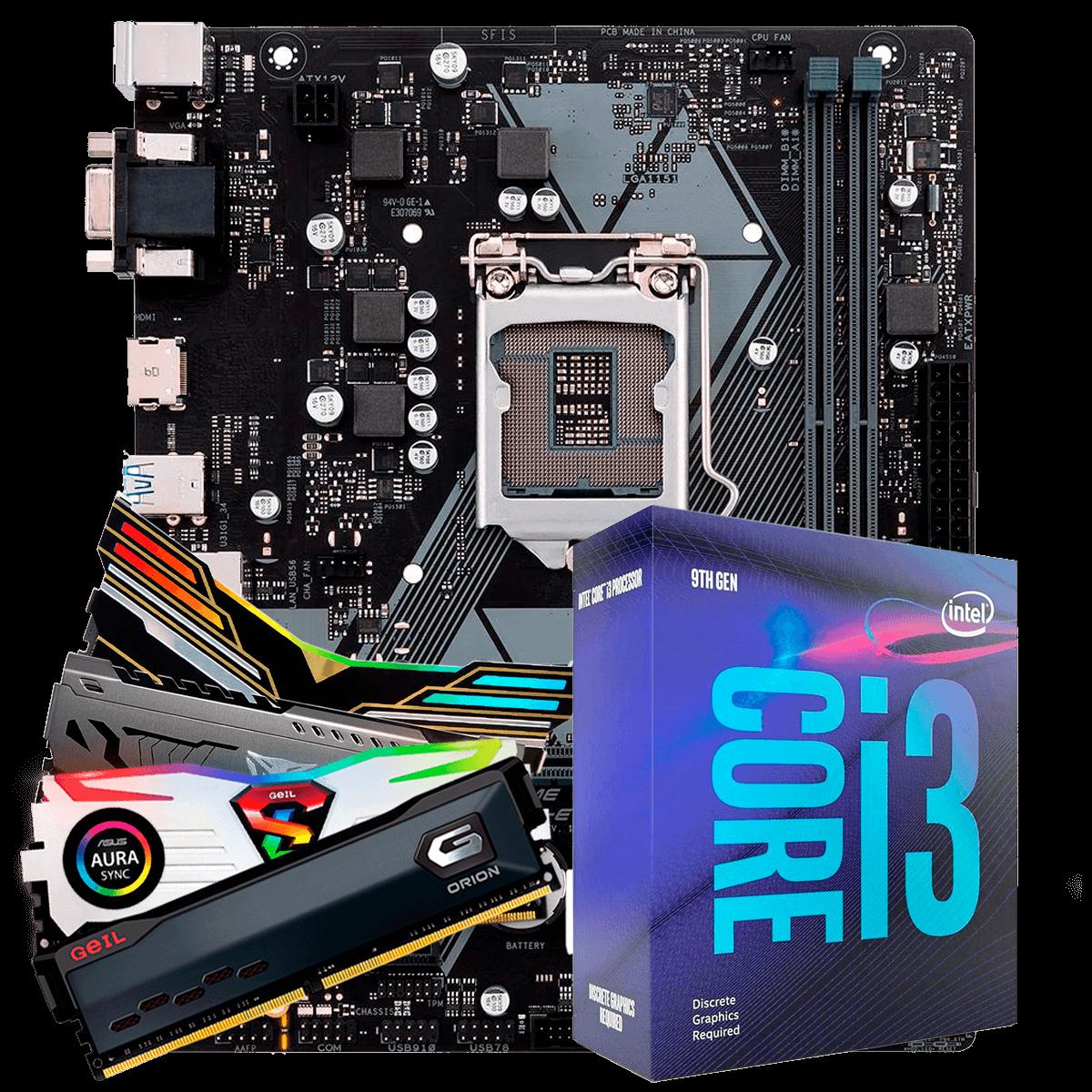 Kit Upgrade, Intel Core i3 9100F, Asus Prime H310M-E, Memória RAM 8GB 3000MHz