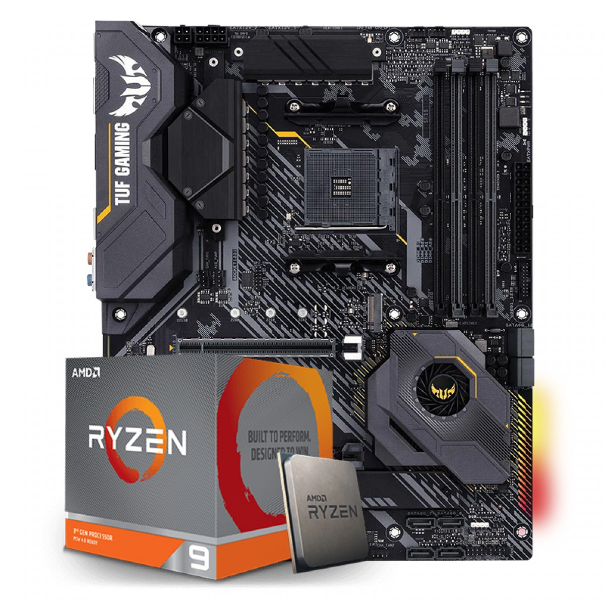 Kit Upgrade Placa Mãe Asus TUF Gaming X570-Plus AMD AM4 + Kit Processador AMD Ryzen 9 3900x 3.8ghz