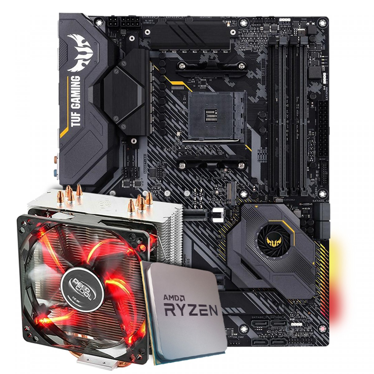 Kit Upgrade Placa Mãe Asus TUF Gaming X570-Plus AMD AM4 + Kit Processador AMD Ryzen 9 3900x 3.8ghz + Cooler Deepcool Gammaxx 400 de 120mm