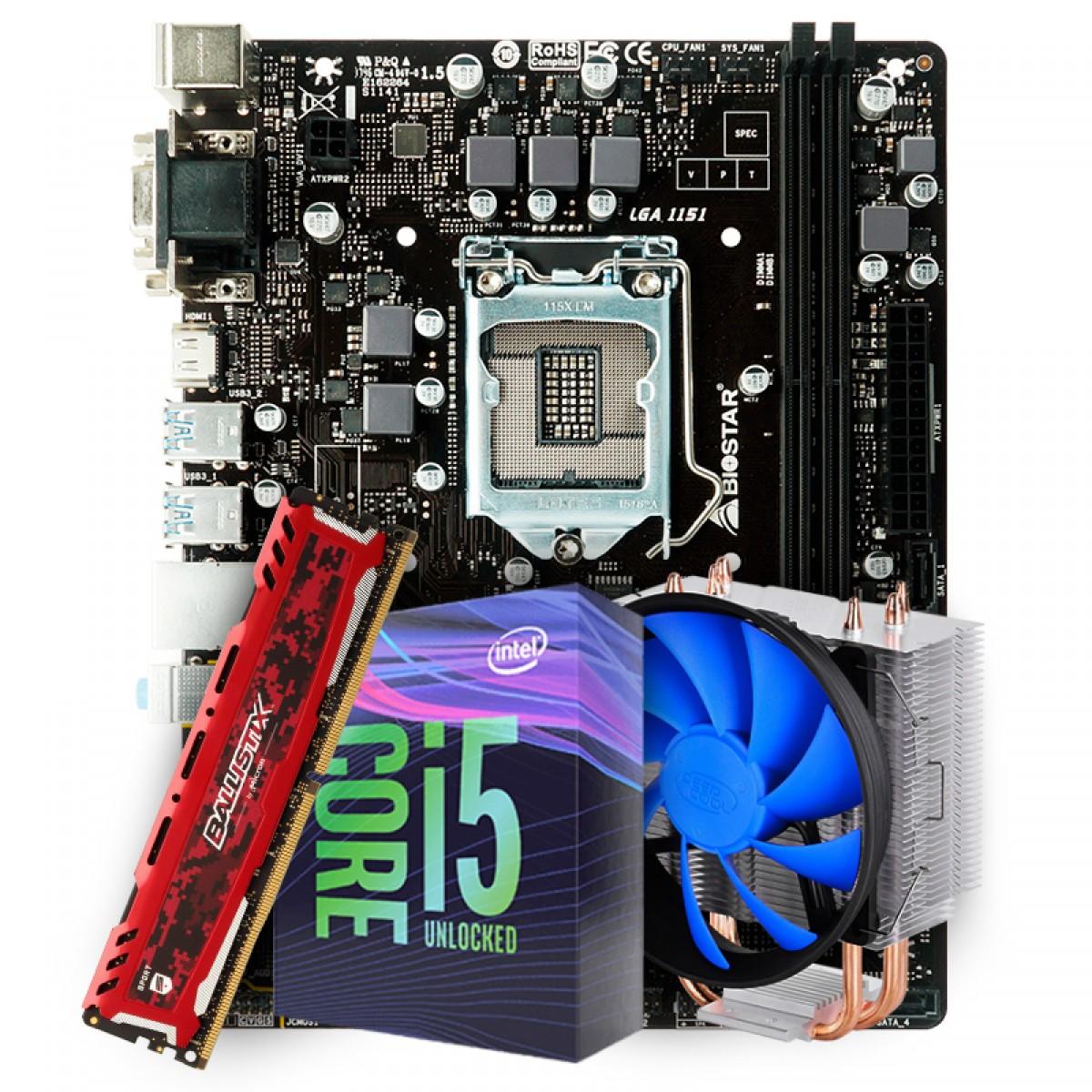 Kit Upgrade Placa Mãe Biostar B360MHD PRO 2 LGA 1151 + Processador Intel Core i5 9600KF 3.70GHz + Cooler DeepCool Gammaxx 300 + Memória DDR4 16GB 2666MHz