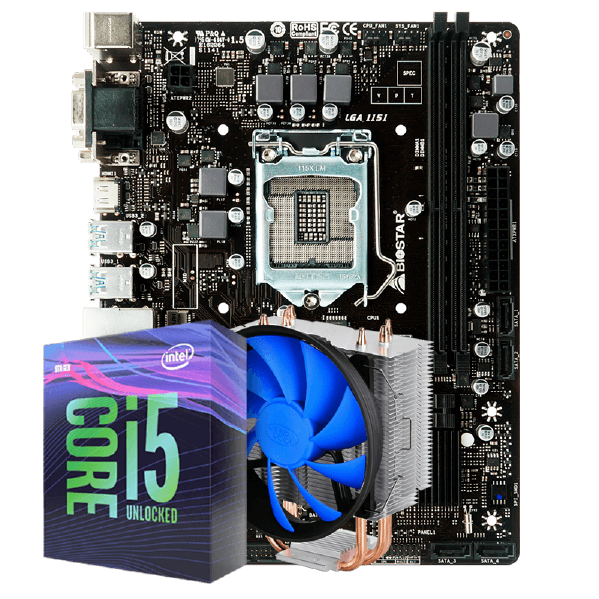 Kit Upgrade, Intel Core i5 9600KF, Biostar B360MHD PRO 2, Cooler DeepCool Gammaxx 300