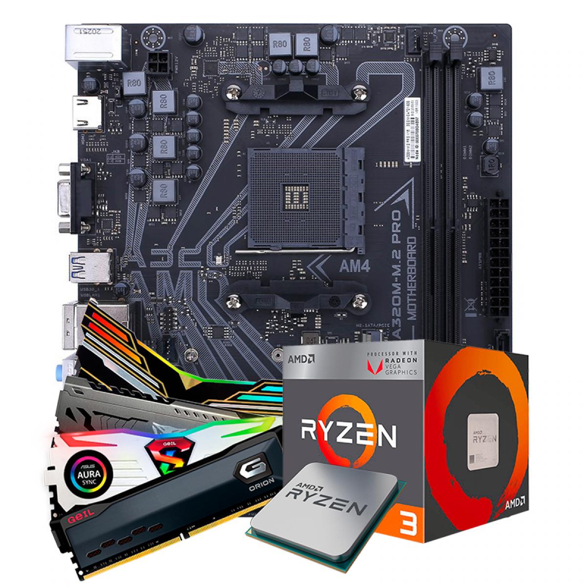 Kit Upgrade, AMD Ryzen 3 2200G, Colorful A320M-M.2 PRO V15, Memória DDR4 8GB 3000MHz