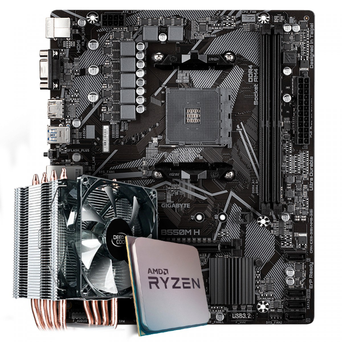Kit Upgrade Placa Mãe Gigabyte B550M H AMD AM4 + Processador AMD Ryzen 7 3800x 3.9GHz + Cooler Deepcool Gammaxx